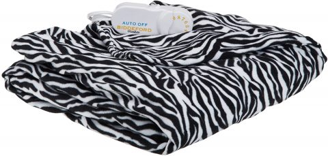 Biddeford Blankets Comfort Knit Electric Heated Blanket with Digital Controller, Throw, Zebra Print