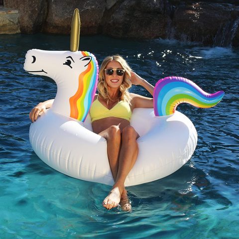 GoFloats Unicorn Pool Float Party Tube - Inflatable Rafts, Adults & Kids