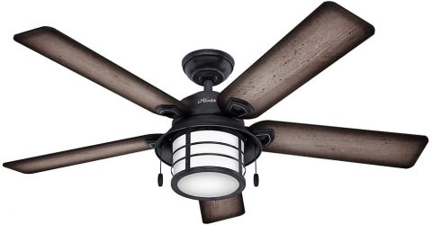 Hunter Key Biscayne Indoor Outdoor Ceiling Fan with LED Light and Pull Chain Control