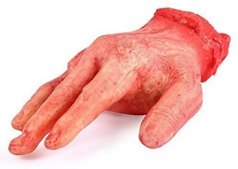 ONEDONE Severed Hand Scary Bloody Fake Human Body Parts Halloween Prop Cospaly