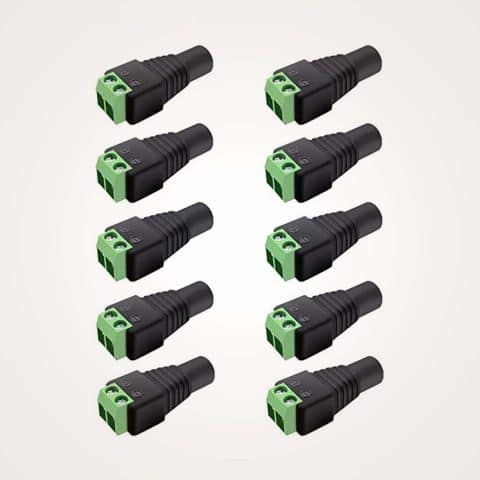 inShareplus 10 Pack 12V Female 5.5 X 2.5mm DC Power Jake Plug Adapter Connector for CCTV Security Camera