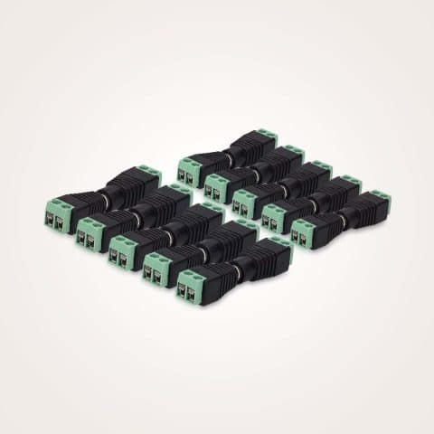 kwmobile DC Connector Adapter Plug Set - 10 Pairs DC Female + Male 12V Power Jack Plug Adapter Connectors for CCTV Security Camera LED Strip