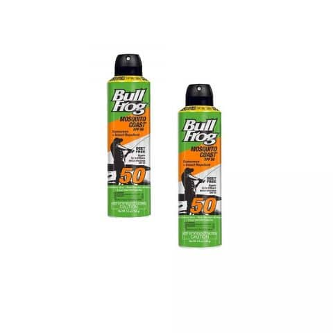 BullFrog Mosquito Coast, 2 in 1 Sunscreen Insect Repellent, Water Resistant, 8 Hour Protection, Continuous Spray, DEET Free, SPF 50, 2 Pack